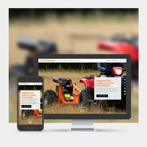 Farm Machinery Website Design example on mobile and computer.