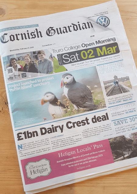 Cornish Guardian (Front page)