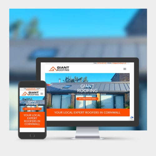 Roofing company web design example on mobile and computer.