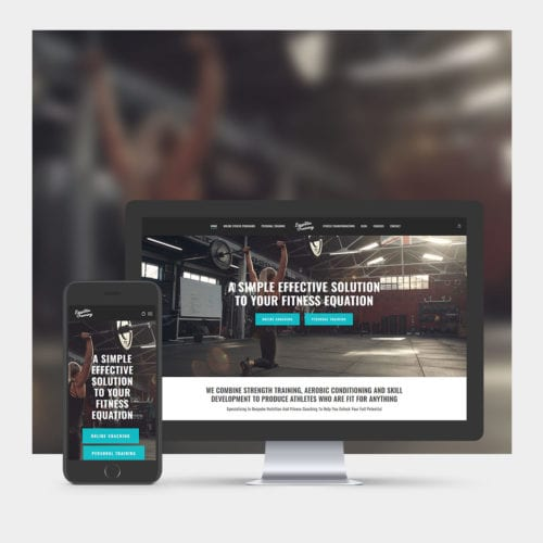 Gym & Fitness Website Design example on mobile and computer.