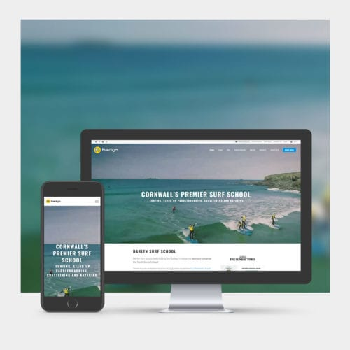 Surf School Tourism Website Design example on mobile and computer.