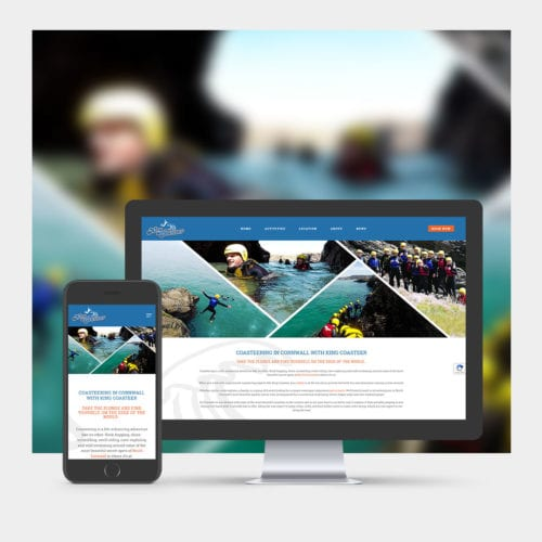 Coasteering Website Design example on mobile and computer.