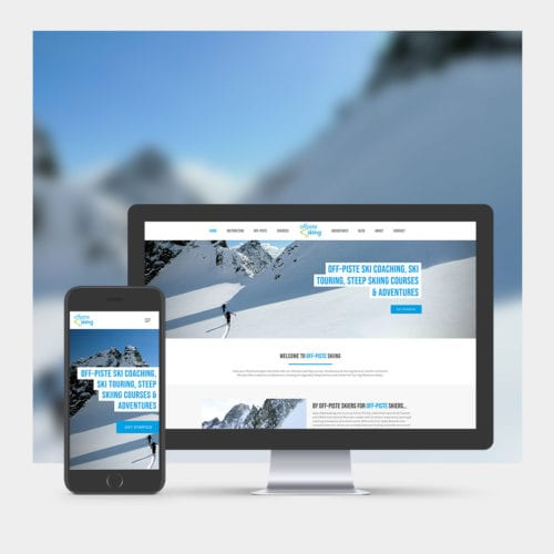 Off-Piste Ski School Website Design example on mobile and computer.