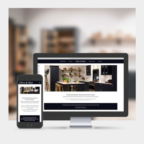 Shaker Kitchen Designers website design example on mobile and computer.