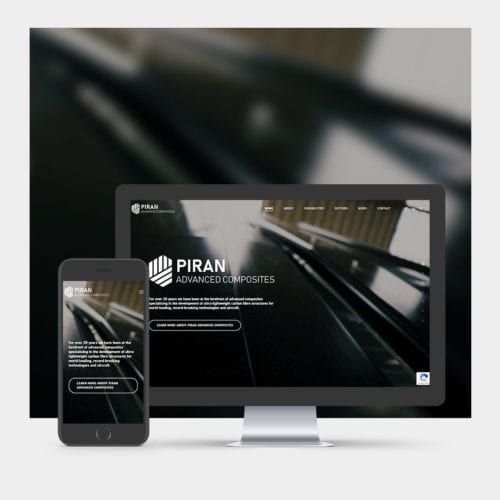 Piran Composites website design example on mobile and computer.