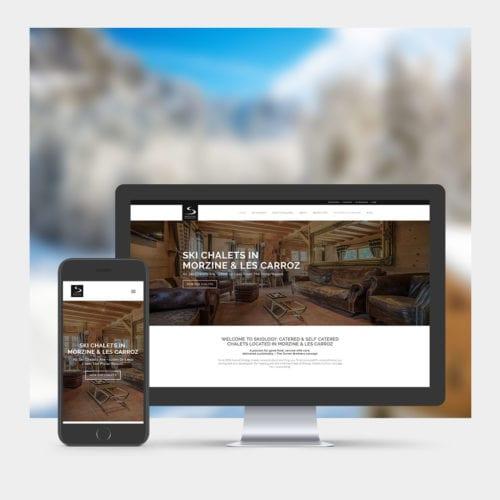 Ski Chalet Website Design example on mobile and computer - skiology