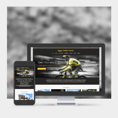 Cycle tour website design example on mobile and computer.