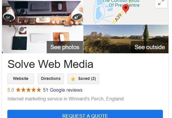 Google My Business - Quote button
