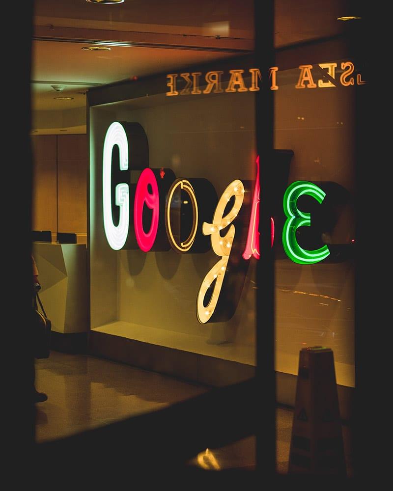 Illuminated Google sign