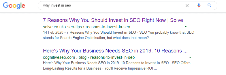 google search displaying results for why invest in seo