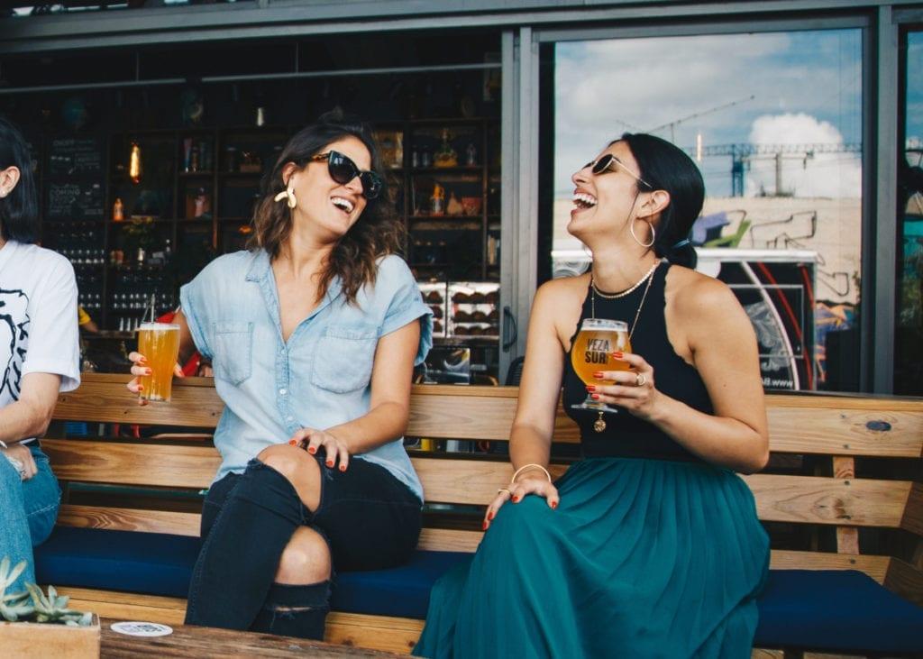 Girls enjoying a beverage