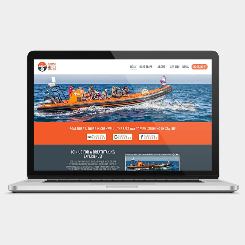 padstow sea life safari laptop example by solve web media