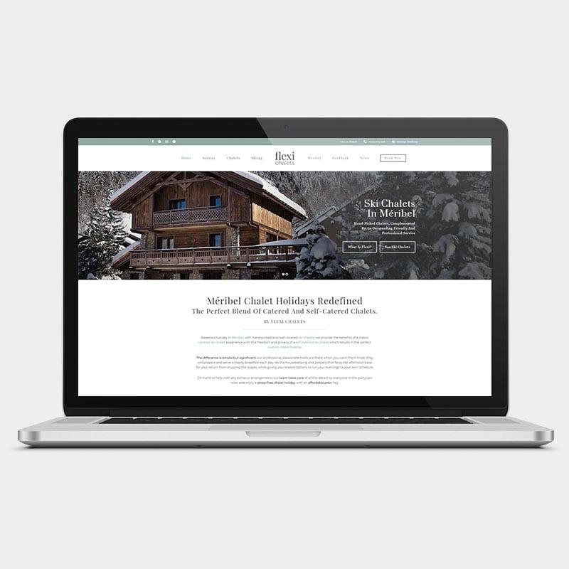 Flexi chalets website on a laptop