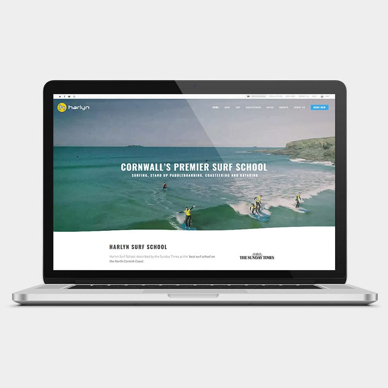 Harlyn surf school laptop example by solve web media