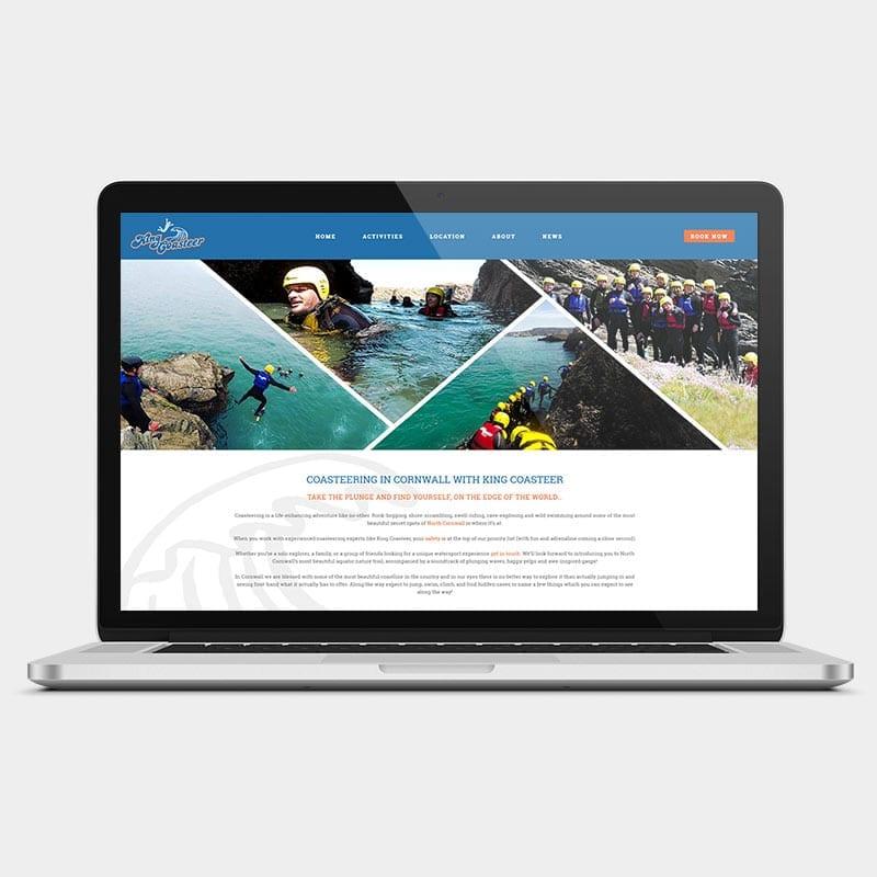King Coasteer website on a laptop