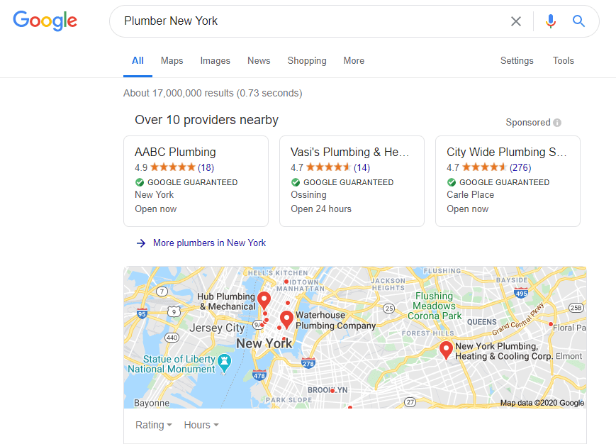 Google screenshot of search plumber new york
