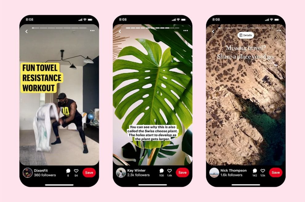 three mobile screens displaying Pinterest story pins