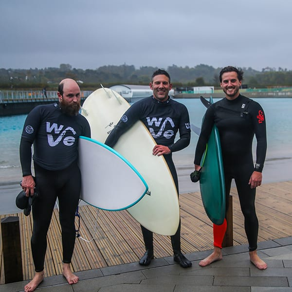Dave, Lol & Fred surfing
