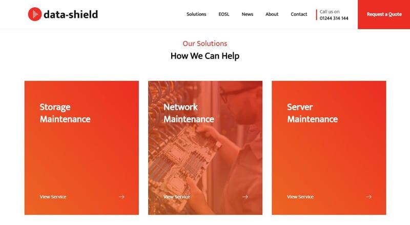 Data Shield website screenshot