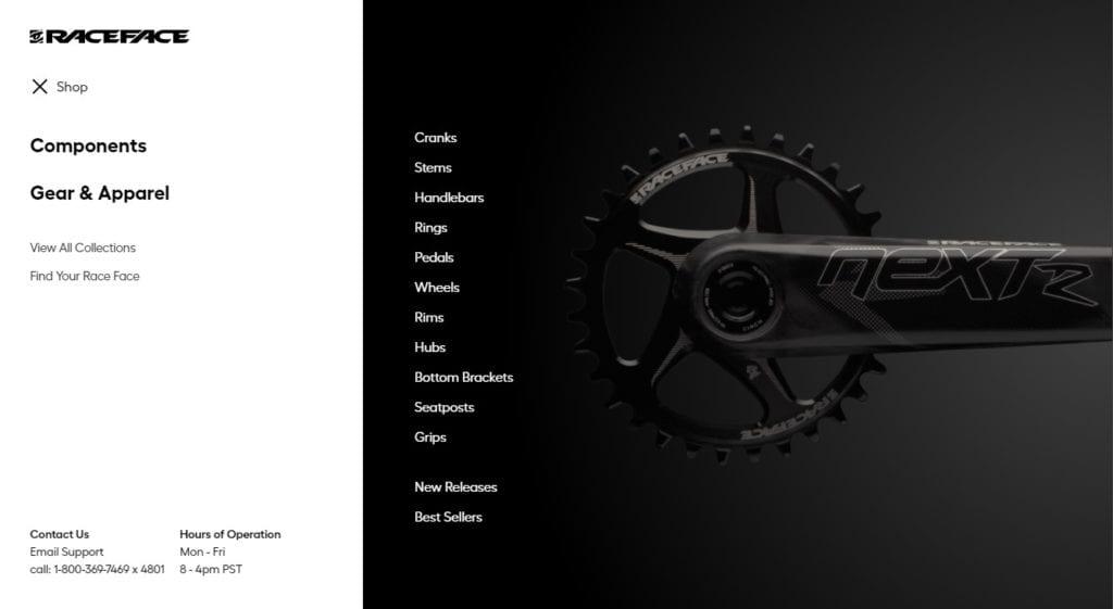 Raceface website screenshot